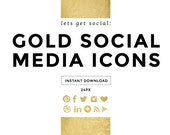 SALE - Gold Foil Social Media Icons, Social Media Buttons