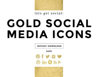Gold Foil Social Media Icons, Social Media Buttons
