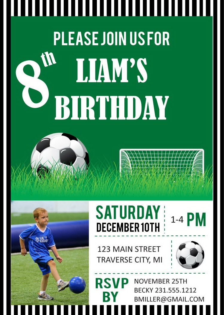 Soccer Photo Birthday Party Invitations Digital File DIY – Printable Kids Birthday Party Invitations