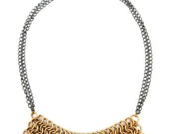 Handmade Brass & Gunmetal Chainmaille Statement Necklace - Astra