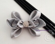 Gray Silver Wedding Fascinator, Butterfly Satin Hair Clip, Grey Bridesmaid Hair Accessory, Flower Girl Elegant Hair Bow, Bridal Headpiece