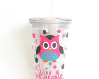 Personalized Owl Double Wall Acrylic Tumbler With Lid and Straw