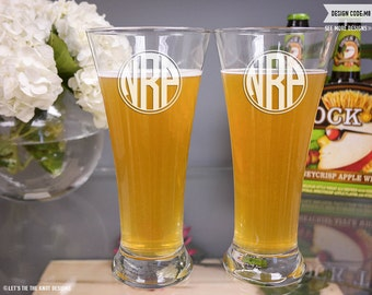 Personalized Monogram Beer Glasses - (Set of TWO) Custom Engraved Traditional Beer Pilsners - Personalized Wedding Gift - Monogrammed Gift