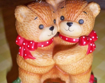 1982 Enesco Lucy Bear Ornament - Hugging Lucy Bear Couple Ornament Very Good Used Condition No Box