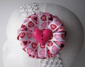 Valentine Hair Bow, Candy Hearts Pink Red White, Hair Clip Accessory Barrette for Girl/Woman, Photo Prop Gift Under 20, Love Hug Kiss XoXo