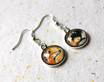 Love Series # 2 (Fox and Crow) Earrings - Wearable Art