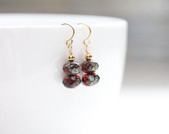birthday gift small drop earrings / jewelry august birthday / small dangle earrings / deep red earrings