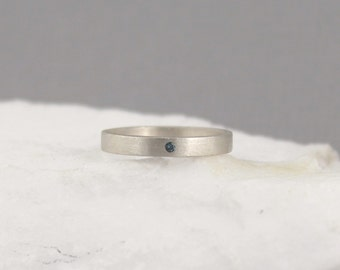 Blue Diamond Ring - Sterling Silver Band - Men's or Ladies Jewellery - Wedding Bands - Engagement Rings - Matte Finish