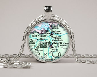 Brussels Belgium Map Pendant Necklace or Keyring Glass Art Print Jewelry Vintage Map Pendant Europe Map Pendant Atlas Pendant