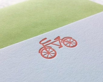 Tiny Bike Letterpress Flat Notecards Set of 10