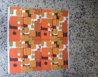 Vintage Filkauf Screen Printed Fabric Panel on 100% Linen