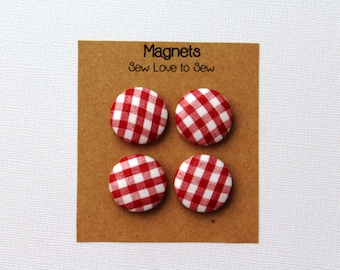 Fabric Covered Button Magnets / Red and White Plaid Magnets / Plaid Magnets / Strong Magnets / Refrigerator Magnets / Fridge Magnets