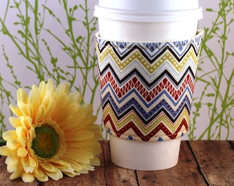 Fabric Coffee Cozy / Large Patterned Chevron Coffee Cozy / Chevron Coffee Cozy / Coffee Cozy / Tea Cozy