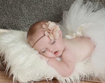 Burlap Baby Headband, Tan Burlap Flower, Brown Headband, Burlap Hair Bow, Newborn Headband, Baby Headband