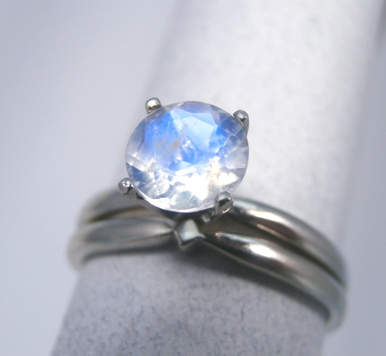MOONSTONE 14K Gold Genuine Rainbow Moonstone Engagement Ring