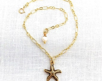 Gold Starfish Anklets for Women, Starfish and Pearl, Summer Beachy Anklet, Star Fish Jewelry, Ankle Bracelet, Beach Lover, Sea Star, A0010