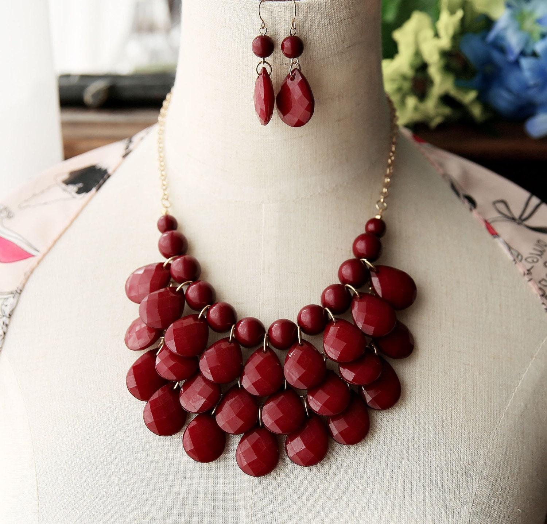 teardrop statement bib necklace burgundy wine free