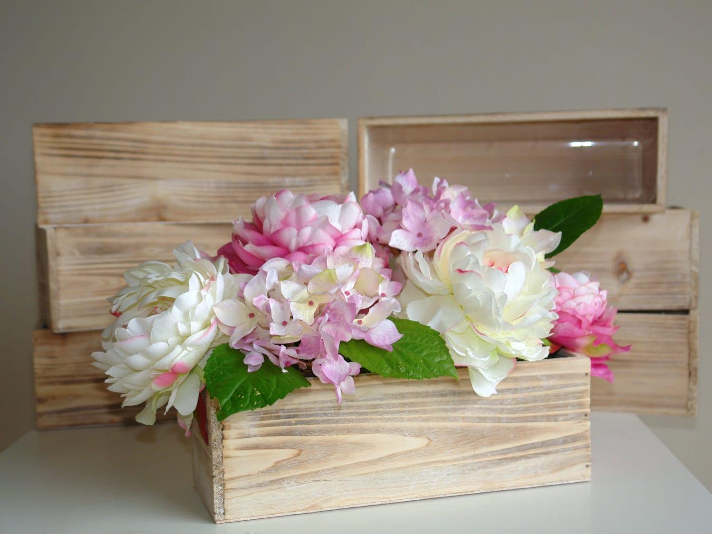 Wood box rectangular boxes weddings table decor centerpieces