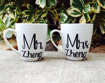 Mr. and Mrs. Personalized Last Name Couples Coffee Mugs Wedding Gift Anniversary Gift