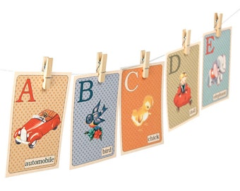 "Digital retro ABC flashcards / printable nursery wall art / 5"" by 7"" alphabet flash cards / instant download / vintage illustrations"