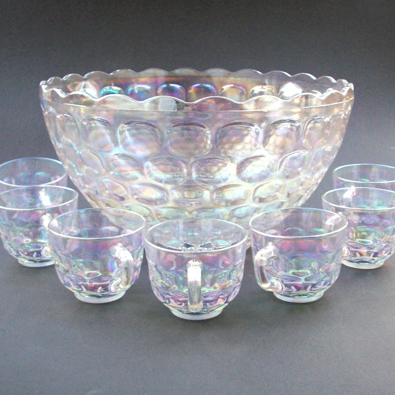 vintage jubilee federal glass iridescent luminous punch bowl. Black Bedroom Furniture Sets. Home Design Ideas