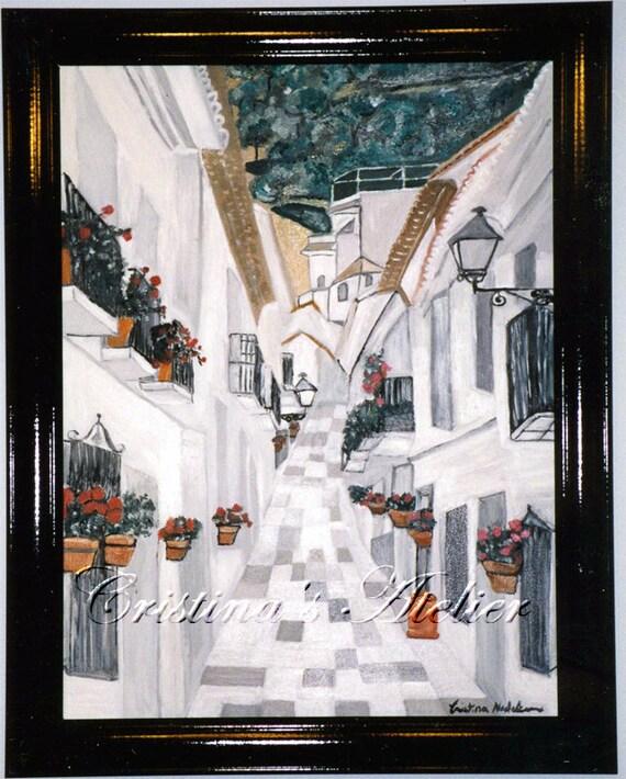 Costa del Sol original oil painting. Street scenes art. Wall home art 18'x24'. Romantic, arhitecture, contemporary art .Canvas art landscape
