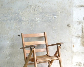 Vintage Child's Folding Armchair Wooden Furniture
