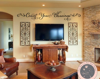 Wall Decal - Count Your Blessings - Christian Wall Decal - Wall Decals - Decals - Wall Letters - Inspirational Quote - Decals for the Home