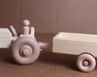 Handcrafted Wooden Tractor and Wagon 120
