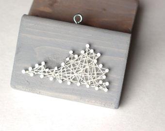 Virginia String and Nail Art Rustic Wood Ornament