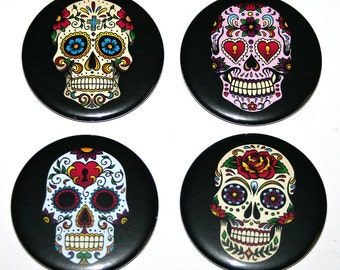 Day of the Dead Candy Skulls - Set of 4 Large Fridge Magnets