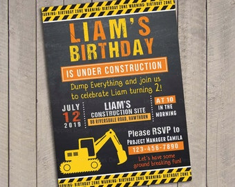 Birthday Invitation Construction / Dump Truck Invitation / Construction Invitation / Construction Invite / Construction Party Invitation