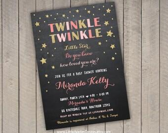 twinkle twinkle baby shower / twinkle twinkle invitation / twinkle twinkle little star baby shower invitation / twinkle star invitation