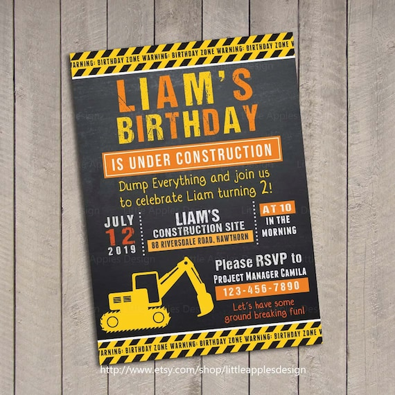 Birthday Invitation Construction / Dump Truck Invitation