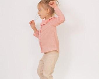 Girls long sleeve BLOUSE pattern - pdf Ruffle collar shirt pattern - sizes 2t, 3t, 4t, 5, 6 and 7
