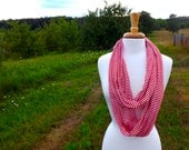 Red and White Striped Infinity Scarf, SALE SCARF