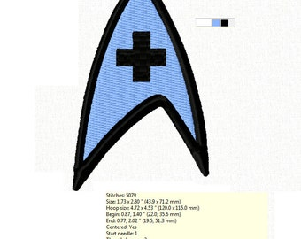 Kirk to McCoy - Star Trek MEDICAL Insignia Logo ~ Machine Embroidery Design in 2 sizes - Instant Download