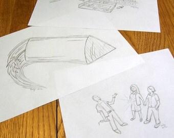 BOTTLE ROCKET pencil sketches