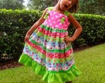 Custom Knot Dress, Girls Clothing, Size 2T, 3T,4T,5T,6,7,8, Toddler Girl Dress