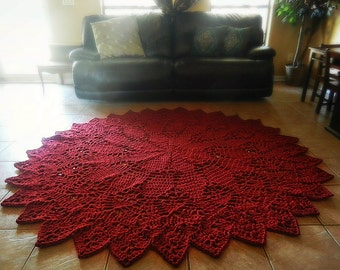 Crochet doily rug dark red rustic chic french country for Large red area rugs