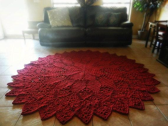 Crochet Doily Rug Dark Red Rustic Chic French By Evavillain