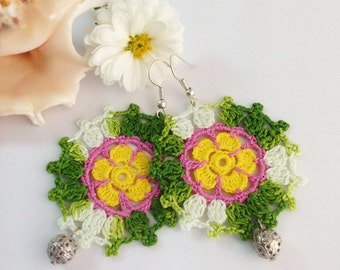 Crocheted Colorful Earings/oya/green-pink, yellow-green,crochet earings,flower earings,oya earings, hand crochet earings, flowered earings
