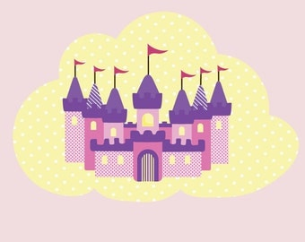 Princess Castle Wall Decal - Fabric Castle Wall Decal