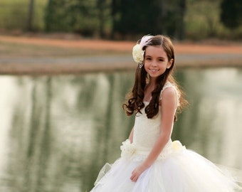 Tulle & Lace Tutu Flower Girl Dress - Perfect For A Flower Girl, Pageant, Baptism  - The Savannah Dress -  Sizes 12 Months - 12 Years