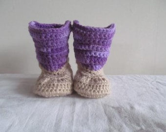 Purple Camo Hand Crocheted Baby Cowgirl Boots- MADE TO ORDER