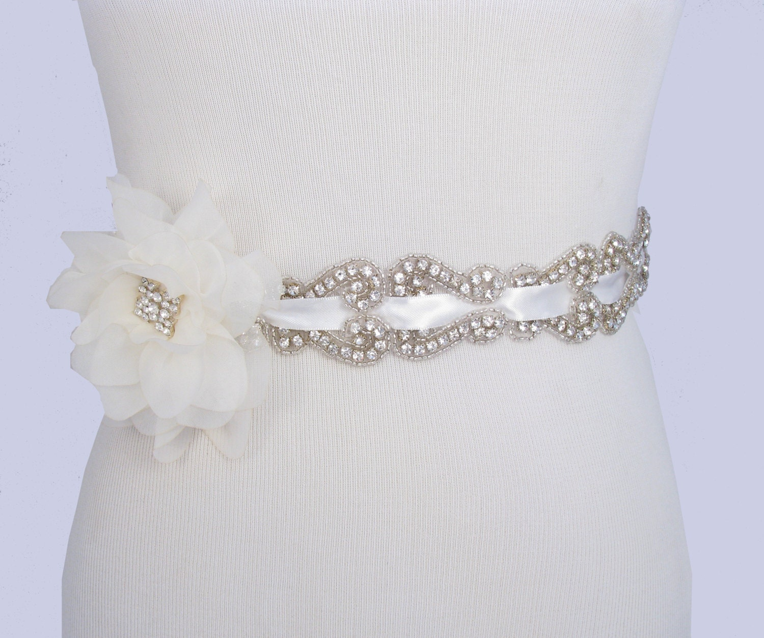 Flower Wedding Dress Sash Crystal Rhinestone by