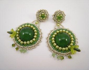 Bead Embroidery Earrings, Green Dangle Earrings, Gypsy Style Dangles, Green Silver Earstuds, Beaded Earrings, Statement Earrings, Greenery