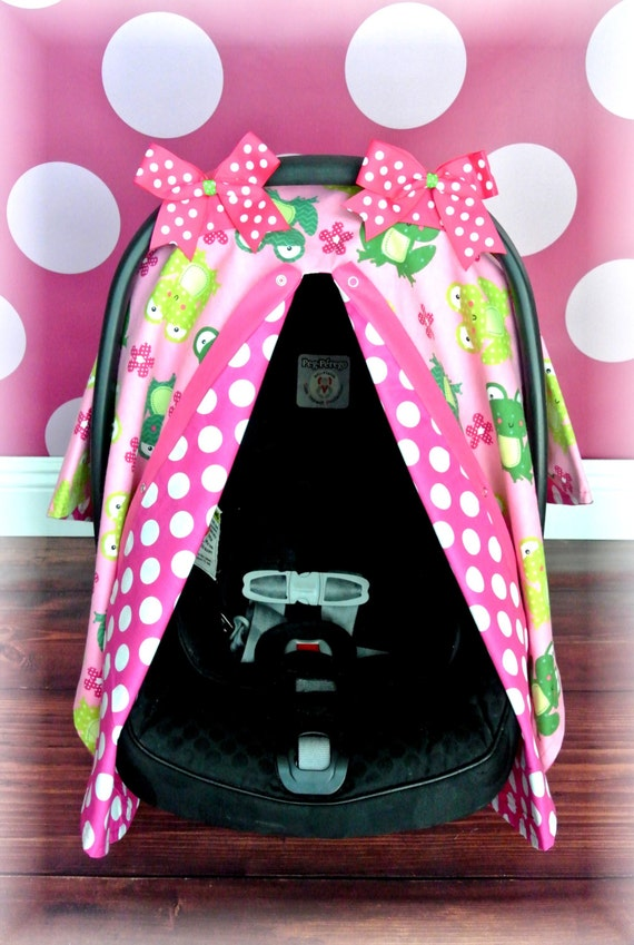 Frogs Flannel Car Seat Canopy Car Seat Cover By