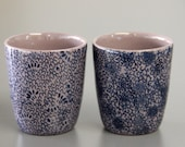 plum coloured espresso cup / sake cup set with all over print
