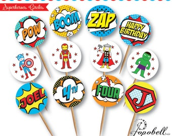 Superhero Cupcake Topper for Avengers Birthday Party.  In 12 designs! Superheroes 2 inches circles for superhero birthday. Personalized.